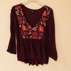 AE burgundy shirt/blouse